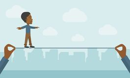 Black Businessman walking on wire Royalty Free Stock Images