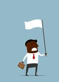 Black businessman with a white flag. African american businessman with a briefcase waving a white flag of truce or surrender. Cartoon flat style Stock Images