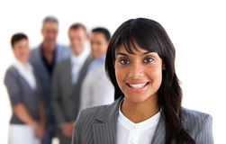 A black businesswoman. With people on the background Stock Photos
