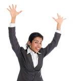 Black businesswoman arms raised Royalty Free Stock Image