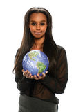 Black Businesswoman holding the earth Royalty Free Stock Photos