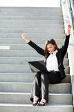 Black businesswoman with laptop Stock Photography