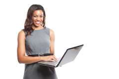 Black businesswoman with laptop Royalty Free Stock Photos