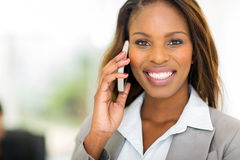 Black businesswoman mobile Stock Photos