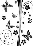 Black butterflies and flowers decoration Stock Photo