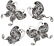 Black butterflies. Vector illustration. Set of black butterflies isolated on a white background. Vector illustration Stock Photo