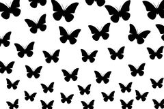 Black butterflies on white background, seamless Wallpaper, illustration, vector. Seamless pattern.Greeting card vector background royalty free illustration