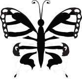 Black butterfly. Beautiful black and white butterfly isolated on white. Vector illustration Royalty Free Stock Photo
