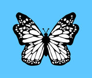 Black butterfly icon with white wings on blue background. Tatto  Vector illustration. Stock Image