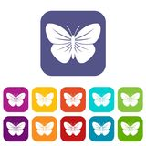 Black butterfly icons set Royalty Free Stock Image