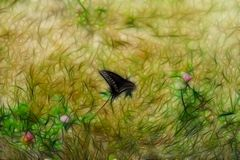 Fractal background texture. Black Butterfly sitting on Grass stock photo