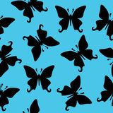 Black butterfly vector seamless texture Stock Photos