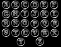 Black Button Alphabet very detailed. Black Button Alphabet - Black web buttons with fingerprint style letters Royalty Free Stock Images