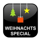 Black Button: Christmas Special german. Shiny isolated black Button: Christmas Special in german language Stock Image