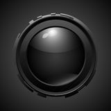 Black button with highlights. Technostyle Royalty Free Stock Photography