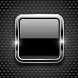 Black button on metal perforated background. Square glass icon with chrome frame. Vector 3d illustration royalty free illustration