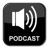 Black Button: Podcast. Shiny isolated black Button: Podcast royalty free illustration
