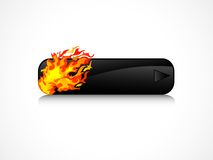 Black button. Black rectangle button with orange flames Royalty Free Stock Photography