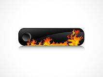 Black button. Black rectangle button with orange flames Royalty Free Stock Photos