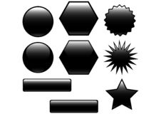 black buttons glansigt royaltyfri illustrationer