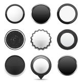 Black Buttons. Set of different black buttons on white background, web elements collection stock illustration