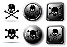 Black buttons with skull sign stock illustration