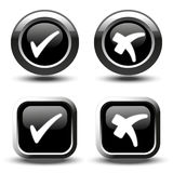 Black buttons with white simple check mark symbols, square and circle buttons Stock Image