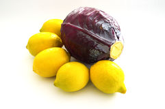 Black, cabbage and lemon paintings on a white background Royalty Free Stock Images