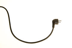 Black cable and plug Royalty Free Stock Images