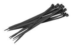 Black Cable Ties Isolated on White Background Royalty Free Stock Photos