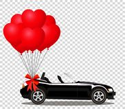 Black cabriolet car with bunch of red helium heart shaped balloo. Black modern opened cartoon cabriolet car with bunch of red helium heart shaped balloons with Stock Photography