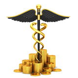 Black caduceus medical symbol and gold coins Stock Photos