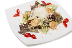Black Caesar salad with scallops. Royalty Free Stock Photos