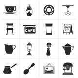 Black Café and coffeehouse icons. Vector icon set Stock Images