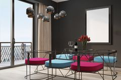 Black cafe interior, blue and red chairs corner Royalty Free Stock Photo