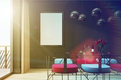 Black cafe interior, blue and red chairs toned Royalty Free Stock Photos
