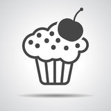 Black cake icon with cherry Royalty Free Stock Photography