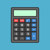 Black calculator on blue. Black calculator with color buttons on blue background. Education, mathematics and accounting concept. Flat design. Vector illustration Royalty Free Stock Images