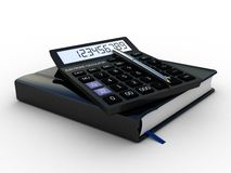 Black calculator 3D. Mathematics object.  on white background Royalty Free Stock Photography