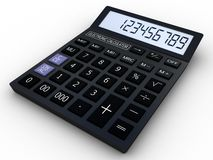 Black calculator 3D. Mathematics object.  on white background Royalty Free Stock Image