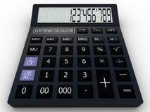 Black calculator 3D. Mathematics object.  on white background Royalty Free Stock Photo