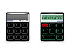 Black calculator icon. Turn on and off black calculator icon with shadow on white background. Modern count tool Stock Image