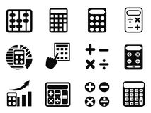 Black Calculator icons set Royalty Free Stock Photo