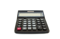 Black calculator isolated on white Royalty Free Stock Images
