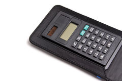 Black calculator isolated at white Stock Images