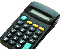 Black calculator isolated on white background royalty free stock images