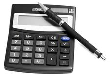 Black calculator with pen Royalty Free Stock Photo