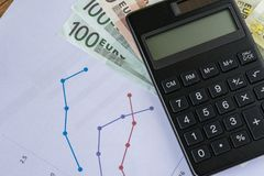 Black calculator on pile of Euro banknotes with printed quarter Royalty Free Stock Photo