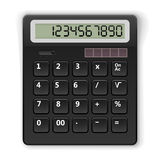 Black calculator. Top view black calculator template  on white background Stock Image