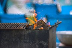Black caldron for cooking. Is at the stake stock photography